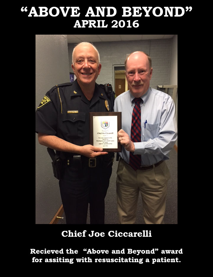 Chief Joe Cicarelli Receives Above and Beyond Award