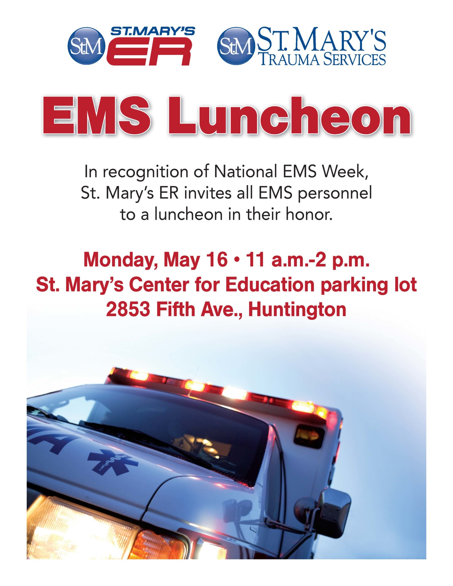 St. Mary's EMS Luncheon Invitation 2016